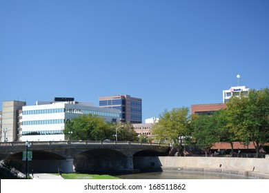SIOUX FALLS, SOUTH DAKOTA-August 29th, 2013: View across the SIoux River of downtown Sioux Falls, which is South Dakota's largest city.