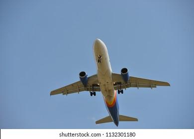 Sioux Falls, South Dakota/USA - 06.05.2018: Landing commercial aircraft