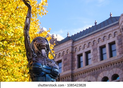 Sioux Falls, South Dakota/USA- October 17, 2014: A horizontal image of one of more than 60 sculptures scattered throughout the downtown streets of a chic urban center.