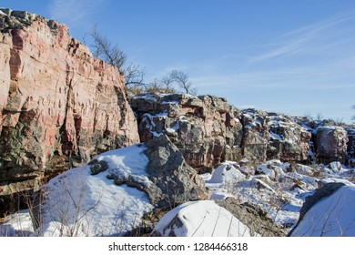 Sioux quartzite rock outcrop at Pipestone National Monument.