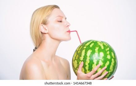 Sip of freshness. Girl thirsty attractive nude drink fresh juice whole watermelon cocktail straw white background. Taste of summer concept. Woman enjoy natural juice. Watermelon cocktail beverage.