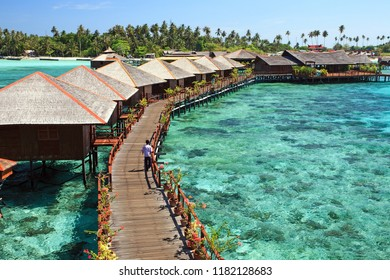 Sipadan Water Village 15 April 2018 : View of Sipadan water village resort at Mabul Island.