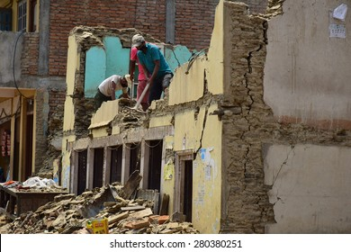 Sipaghat bazar ,Kavreplanchok district ,Nepal - May 8 2015 :People on collapsed building after earthquake disaster
