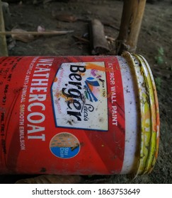 Sipajhar,Assam,India,November28,2020: An empty plastic container of Berger wall paint laying on the ground in an Assam household