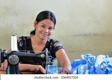 Sipalay, Philippines-October 13, 2016: Filipino seamstresses and tailors still have in use some old vintage models of sewing machines. Here in the City Public Market. Negros Occidental-Philippines.
