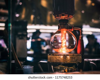 Siphon Coffee Brewing Cafe shop counter