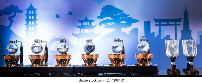 Siphon Coffee or Vacuum Coffee is full immersion tasteful, Blended smell and taste of roasted coffee with direct contact boiled water, born in Japan by Akira Kono in 1840, show accessories and tools.