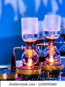 Siphon Coffee or Vacuum Coffee is full immersion tasteful, Blended smell and taste of roasted coffee with direct contact boiled water, show accessories and tools.