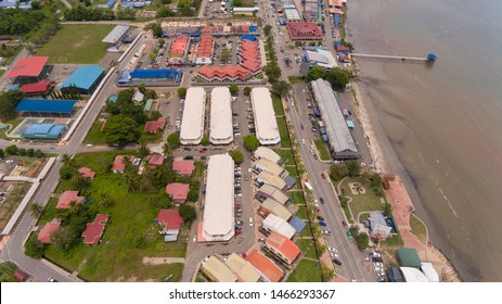 Sipitang,Sabah,Malaysia-July 29,2019: An aerial view Sipitang town,Sabah.Sipitang Malay Pekan Sipitang is the capital of the Sipitang District in the Interior Division of Sabah, Malaysia.