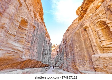 The Siq in the ancient city of Petra, Jordan. Petra has led to its designation as a UNESCO World Heritage Site.