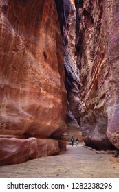 The Siq, the ancient entrance to the city of Petra, Jordan