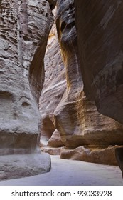 the siq, the main entrance to the ancient city of petra, jordan