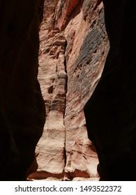 Siq of Petra ruins in Jordan