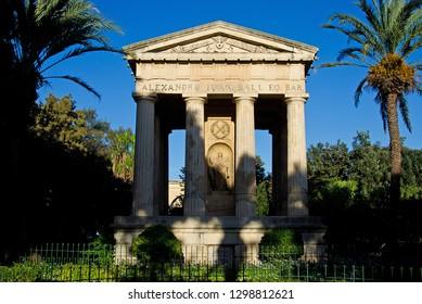 Sir Alexander Ball Monument in the Lower Barrakka Gardens of Valetta, Malta
