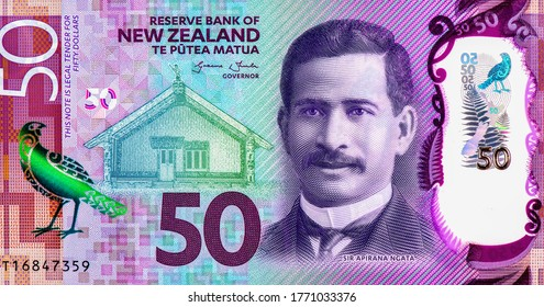 Sir Apirana Ngata, Portrait from New Zealand 50 Dollars 2016 Polymer Banknotes.