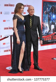 "Sir Ben Kingsley and Daniela Lavender at the Los Angeles premiere of his movie ""Iron Man 3"" at the El Capitan Theatre, Hollywood. April 24, 2013  Los Angeles, CA"