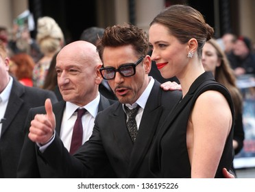 Sir Ben Kingsley, Robert Downey Jr and Rebecca Hall arriving for the Iron Man 3 Premiere, Odeon Leicester Square, London. 18/04/2013 Picture by: Alexandra Glen
