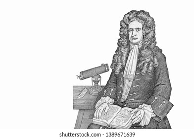 Sir Isaac Newton with his telescope. Heliocentric solar system. Portrait from Great Britain Banknote.