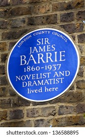 Sir James Barrie blue plaque marking his former London residence.