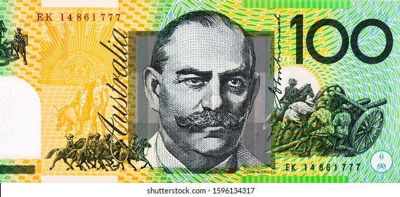 Sir John Monash Portrait from Australia 100 Dollars Polymer Banknotes. Australia money, Australian banknote. Closeup Collection
