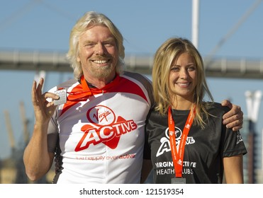Sir Richard Branson and Holly Branson at the The Virgin Triathlon 2012, Excel Arena,  Docklands, London. 22/09/2012 Picture by: Simon Burchell