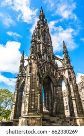 Sir Walter Scott Monument, Princes Street Gardens, Edinburgh, Scotland, UK. The Scott Monument is the largest monument to a writer in the world. It commemorates Sir Walter Scott,England,United Kingdom