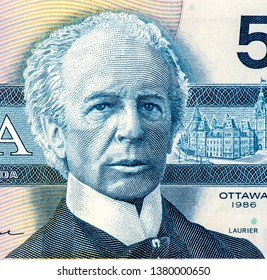 Sir Wilfrid Laurier, former Prime Minister of Canada. Portrait from Canada 5 Dollars 1986 Banknotes. An Old paper banknote, vintage retro. Famous ancient Banknotes. Collection.