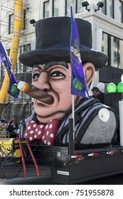 Sir Winston Churchill Pub float participating in the St. Patrick Parade, Montreal, Quebec, Canada, March 20, 2016