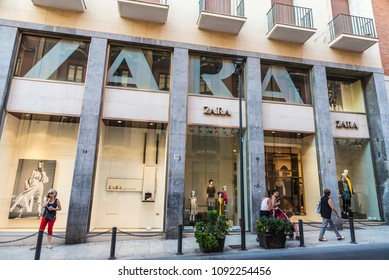 Siracusa, Italy - August 17, 2017: Zara shop with people around in the old town of the historic city of Siracusa in Sicily, Italy