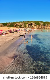 SIRACUSA ITALY, SEPTEMBER 24 tourists on the beach (cala mosche) in one of the most beautiful beaches of Sicily, in the Vendicari Natural Reserve September 24 2018 Siracusa Italy