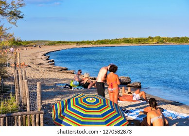 SIRACUSA ITALY, SEPTEMBER 24 tourists on the beach in one of the most beautiful beaches of Sicily, in the Vendicari Natural Reserve September 24 2018 Siracusa Italy