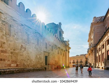 Siracusa, Italy - September 28, 2017: People near Cathedral of Syracuse in the city center of old Siracusa, Sicily, Italy