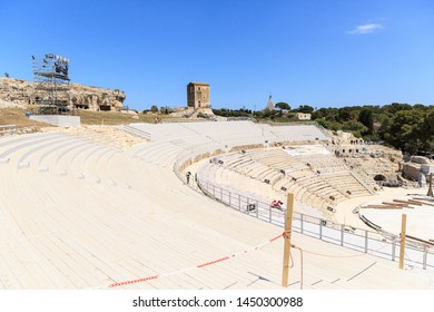 Siracusa, Sicily, Italy - May 01, 2019: Panoramic view of Teatro Greco, Greek amphitheater in Siracusa, Sicily, Italy Spring sunny day
