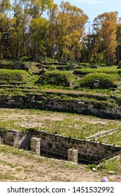 Siracusa, Sicily, Italy - May 01, 2019: Old grown with grass stairs Ancient ruins of Anfiteatro Romano Siracusa in sunny summer day