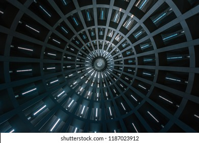Siracusa / Sicily - September 18 2018: Internal view of the spire inside the church of the 'Basilica santuario Madonna delle Lacrime'. Taken in Siracusa, Sicily on Spetember 18 2018.