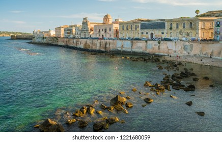 Siracusa waterfront in Ortigia on a sunny summer day. Sicily, southern Italy.