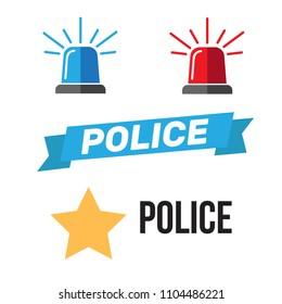 Siren set. Police flasher or ambulance flasher. Siren police light