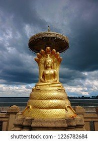 Sirisattarat Buddha, a posture of bhudda statue covered with seven nagas or serpent deities in Thailand.