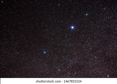 Sirius the brightest star on the night sky located at Canis Majoris Constellation and beinga double star with Sirius A being twice as massive as the Sun. An amazing area of the night sky universe