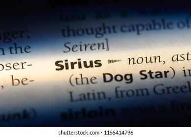 sirius word in a dictionary. sirius concept.