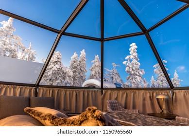 SIRKKA, FINLAND - 31 DECEMBER 2017: Glass igloo accommodation in Lapland near Sirkka, Finland