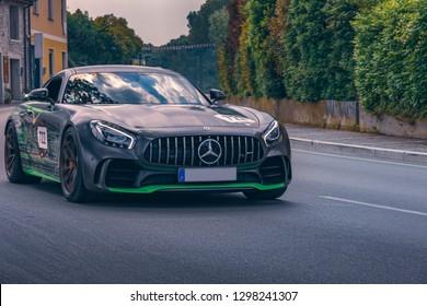SIRMIONE, ITALIA - MAY 16th 2018: Mercedes-Benz sports car participating in the italian  Mille Miglia (1000Miglia) classic race.