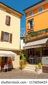 Sirmione, Italy 17 August 2018: Lake Garda. small shops on the street.