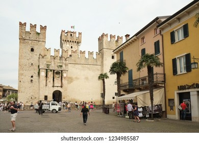 SIRMIONE, ITALY 2013; Medieval fortress in Sirmione, Italy