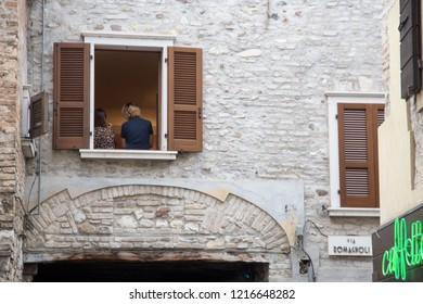 SIRMIONE ITALY: Cityscape in Sirmione Brescia Lombardy on April 29 2018