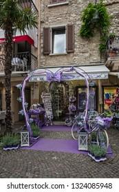 Sirmione, Italy - Feb 27, 2019: Lavender shop in Sirmione, Lombardy.