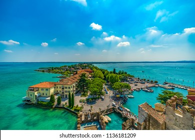 Sirmione, Italy - July 14, 2018: Old town of Sirmione, a small city at Garda lake, Italy.