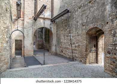 SIRMIONE / ITALY - JULY 2015: Inside gate of Rocca Scaligera medieval castle in Sirmione town on Garde lake, Italy