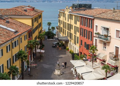 SIRMIONE / ITALY - JULY 2015: View to the small square in the historic centre of Sirmione town on Garda lake, Italy