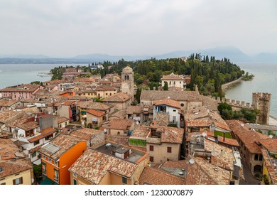 SIRMIONE / ITALY - JULY 2015: View over historic centre of Sirmione town, Garda lake, Italy